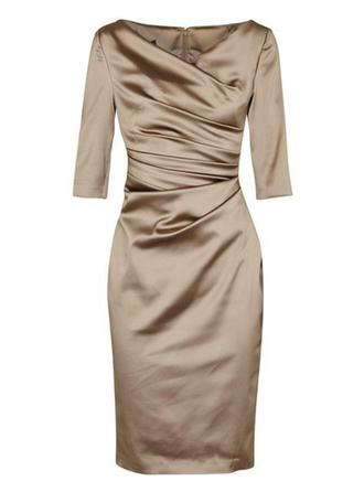 Satin 3/4 Sleeves Mother of the Bride Dresses V-neck Sheath/Column Ruffle Knee-Length
