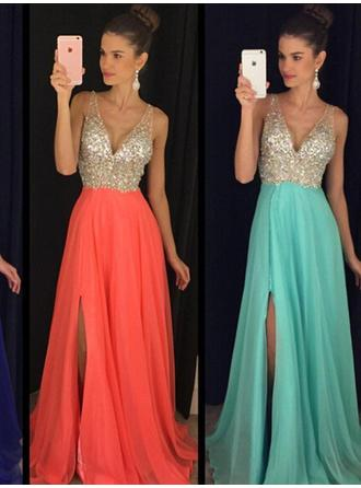 Luxurious Prom Dresses A-Line/Princess Floor-Length V-neck Sleeveless