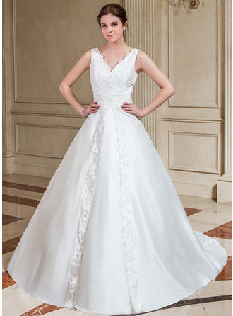 A-Line/Princess Chapel Train Wedding Dress With Lace Beading Sequins