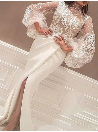 Satin Long Sleeves Trumpet/Mermaid Prom Dresses High Neck Lace Split Front Sweep Train