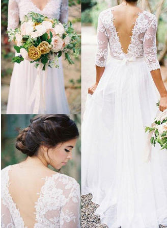 Princess Floor-Length A-Line/Princess Wedding Dresses V-neck Chiffon Half Sleeves (002146264)