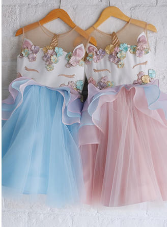 A-Line/Princess Scoop Neck Knee-length Satin/Tulle Sleeveless Flower Girl Dresses (010216436)