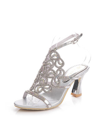 Women's Sandals Slingbacks Chunky Heel Leatherette With Rhinestone Wedding Shoes (047205727)