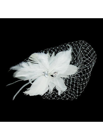 "Fascinators Wedding/Special Occasion Feather/Tulle 9.84""(Approx.25cm) 5.91""(Approx.15cm) Headpieces"