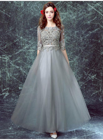 A-Line/Princess Scoop Neck Floor-Length Evening Dress With Appliques Lace