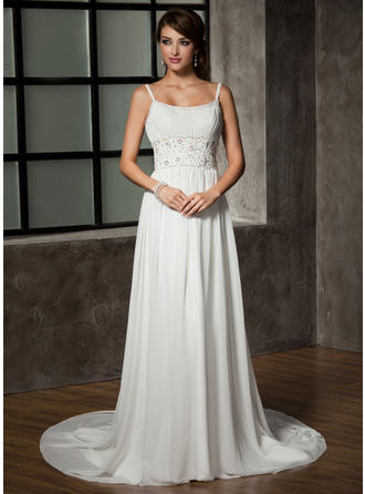 A-Line/Princess Chapel Train Wedding Dress With Ruffle Beading Sequins