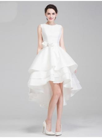 A-Line/Princess Scoop Asymmetrical Wedding Dress With Sash