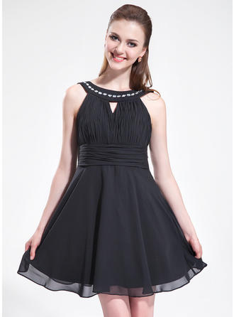 A-Line/Princess Scoop Neck Short/Mini Chiffon Homecoming Dresses With Ruffle Beading