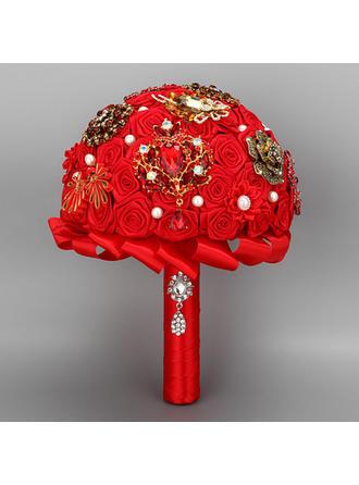 "Bridal Bouquets Round Wedding Satin 10.24""(Approx.26cm) Wedding Flowers"