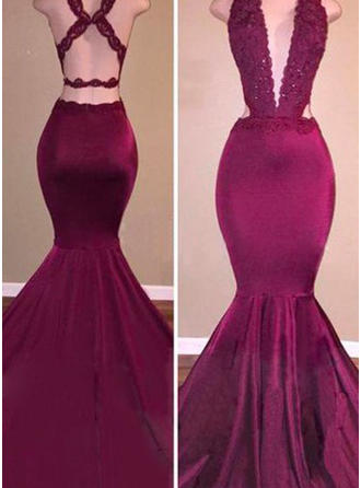 Flattering Prom Dresses Trumpet/Mermaid Sweep Train V-neck Sleeveless