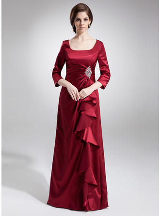 A-Line/Princess Charmeuse 3/4 Sleeves Square Neckline Floor-Length Zipper Up Mother of the Bride Dresses