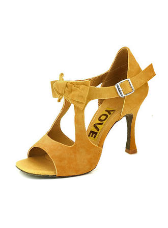 Frauen Latin Heels Sandalen Absatzschuhe Veloursleder Tanzschuhe