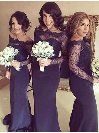Sheath/Column Satin Lace Bridesmaid Dresses Off-the-Shoulder Long Sleeves Sweep Train
