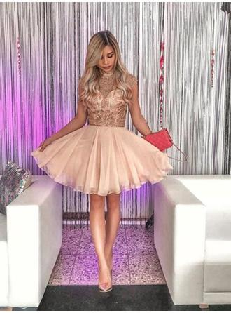 Stunning Homecoming Dresses A-Line/Princess Short/Mini High Neck Sleeveless