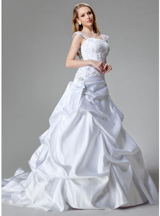 Beautiful Chapel Train A-Line/Princess Wedding Dresses Strapless Satin Sleeveless