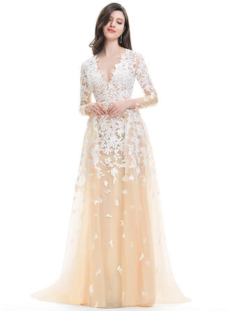 A-Line/Princess V-neck Sweep Train Tulle Evening Dress With Cascading Ruffles