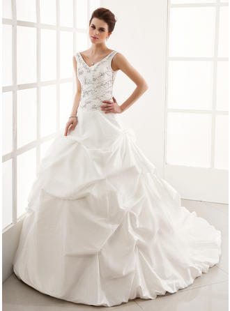 Ball-Gown Cathedral Train Wedding Dress With Ruffle Beading