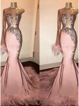 Satin Long Sleeves Trumpet/Mermaid Prom Dresses One-Shoulder Beading Feather Appliques Sweep Train