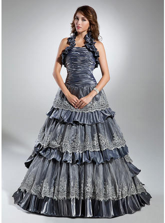 Ball-Gown Halter Sweep Train Taffeta Prom Dress With Lace Cascading Ruffles