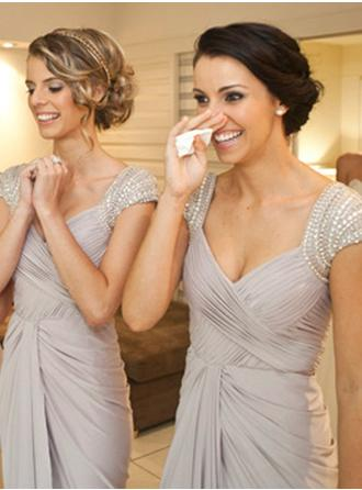 Jersey Sleeveless Sheath/Column Bridesmaid Dresses V-neck Beading Sequins Bow(s) Cascading Ruffles Floor-Length