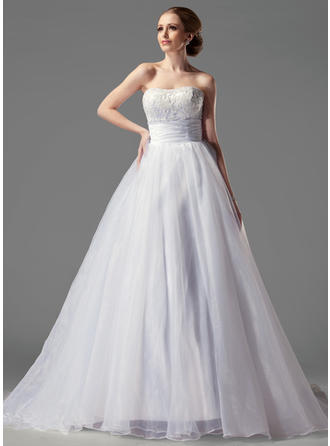 Satin Organza Strapless Court Train Delicate Wedding Dresses