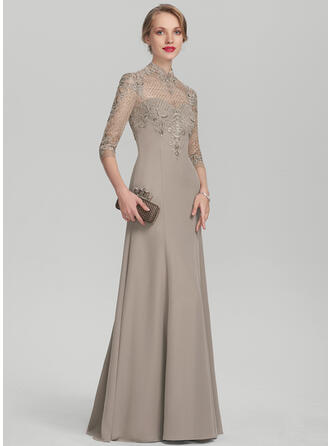 Trumpet/Mermaid High Neck Floor-Length Chiffon Lace Mother of the Bride Dress With Sequins