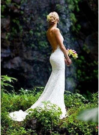 Sheath/Column Lace Sleeveless V-neck Court Train Wedding Dresses (002146290)
