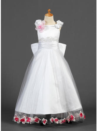 A-Line/Princess Off-the-Shoulder Floor-length With Lace/Beading/Flower(s)/Bow(s) Satin/Tulle Flower Girl Dress