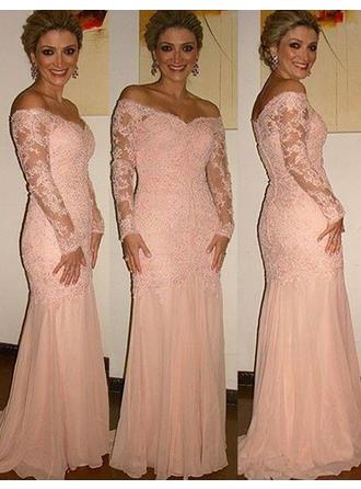 Chiffon Lace Long Sleeves Mother of the Bride Dresses Off-the-Shoulder Trumpet/Mermaid Sweep Train