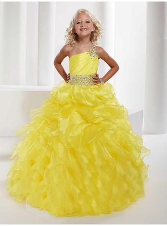 Ball Gown One-Shoulder Floor-length With Beading Organza Flower Girl Dresses