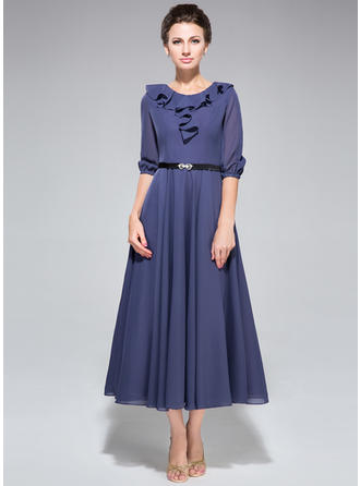 A-Line/Princess Scoop Neck Tea-Length Mother of the Bride Dresses With Sash Cascading Ruffles