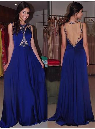 Charmeuse Sleeveless A-Line/Princess Prom Dresses Scoop Neck Beading Sweep Train