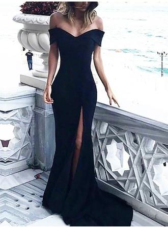 Simple Satin Evening Dresses Sheath/Column Sweep Train Off-the-Shoulder Sleeveless (017217177)