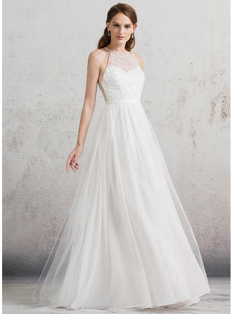 Floor-Length A-Line/Princess Tulle Princess Wedding Dresses Sleeveless