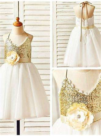 Halter A-Line/Princess Flower Girl Dresses Tulle/Sequined Flower(s) Sleeveless Knee-length