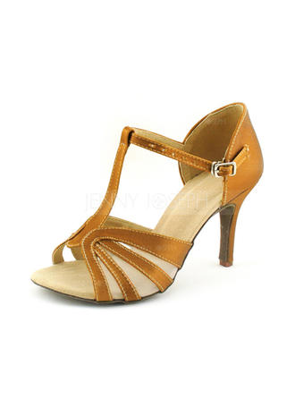 Women's Latin Heels Sandals Satin With T-Strap Dance Shoes