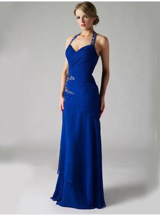 A-Line/Princess Halter Floor-Length Evening Dresses With Ruffle Sequins