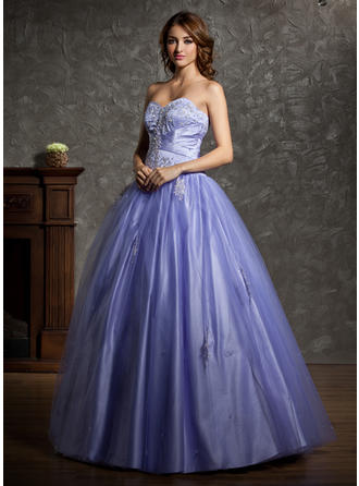 Ball-Gown Sweetheart Floor-Length Tulle Prom Dress With Beading Appliques Lace