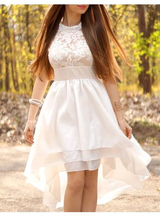 A-Line/Princess High Neck Asymmetrical Wedding Dress