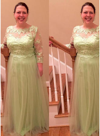 A-Line/Princess Scoop Neck Floor-Length Mother of the Bride Dresses With Appliques Lace