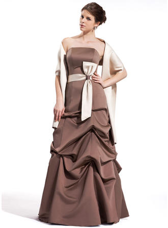 A-Line/Princess Strapless Floor-Length Bridesmaid Dresses With Ruffle Sash