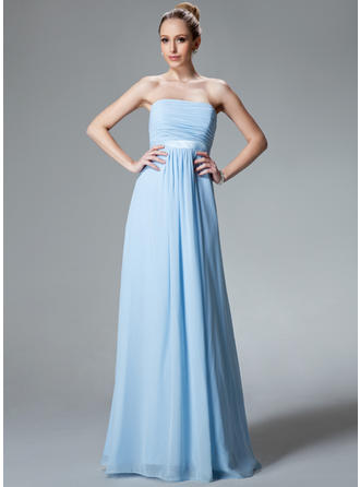 Chiffon Sleeveless Empire Bridesmaid Dresses Strapless Ruffle Floor-Length