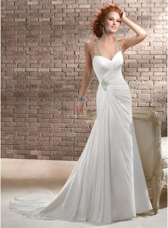 Sheath/Column V-neck Court Train Wedding Dresses With Ruffle Beading