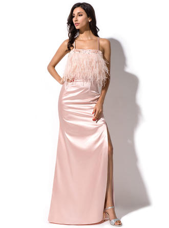 Sheath/Column Floor-Length Evening Dresses With Beading Feather Sequins Split Front