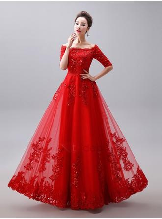 A-Line/Princess Off-the-Shoulder Floor-Length Evening Dress With Beading Appliques Lace Sequins