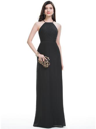 A-Line/Princess Scoop Neck Floor-Length Chiffon Prom Dresses