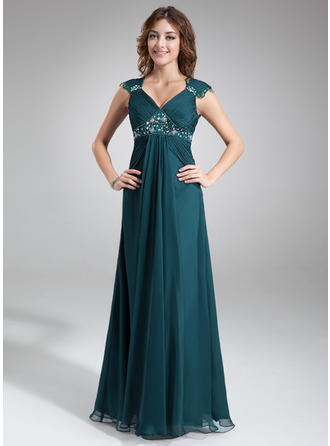 A-Line/Princess V-neck Floor-Length Mother of the Bride Dresses With Ruffle Lace Beading