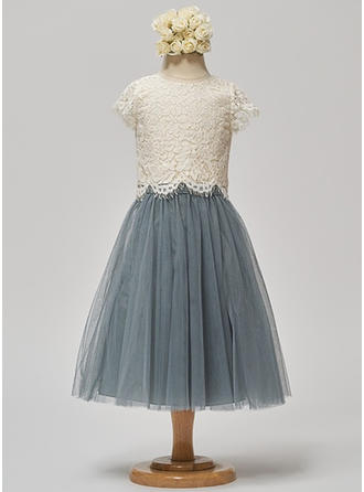 A-Line/Princess Scoop Neck Tea-length Tulle/Lace Short Sleeves Flower Girl Dresses