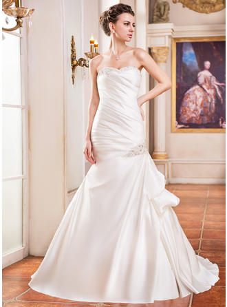 Delicate Sleeveless Sweetheart With Satin Wedding Dresses