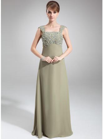 إمبراطورية عنق مربع الطول الأرضي الشيفون فستان أم العروس مع مطرز بالخرز ترتر